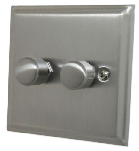 G&H DSN12 Deco Plate Satin Nickel 2 Gang 1 or 2 Way 40-400W Dimmer Switch